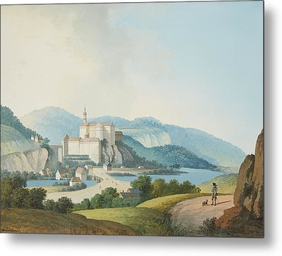 A Castle In A Mountainous Landscape Metal Print by MotionAge Designs