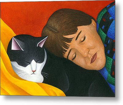 A Cat Is A Furry Pillow Metal Print by Carol Wilson