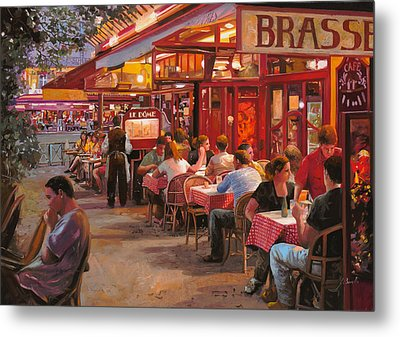 A Cena In Estate Metal Print by Guido Borelli