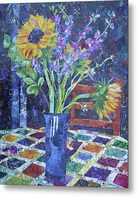 A Chair To View Sunflowers Metal Print