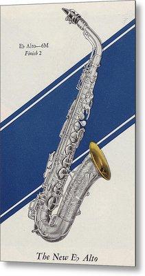A Charles Gerard Conn Eb Alto Saxophone Metal Print by American School