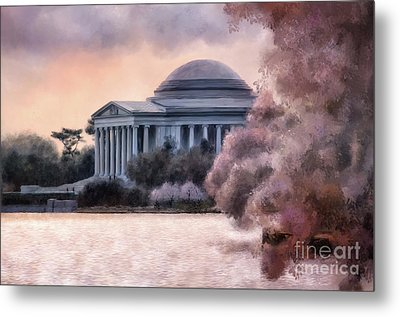 Metal Print featuring the digital art A Cherry Blossom Dawn by Lois Bryan