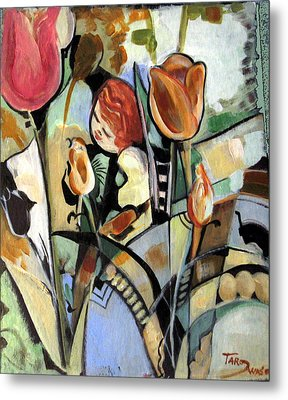A Child Among Flowers Metal Print by Therese AbouNader