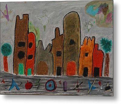 A Child's View Of Downtown Metal Print by Harris Gulko