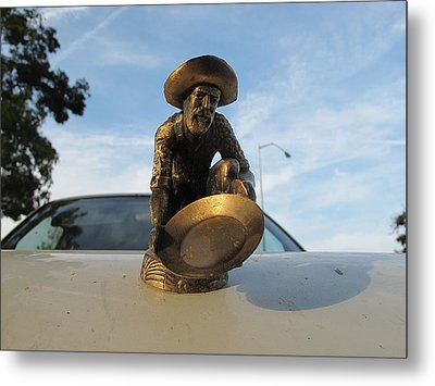 Metal Print featuring the photograph A Classic Hood Ornament Pickup Truck by John King