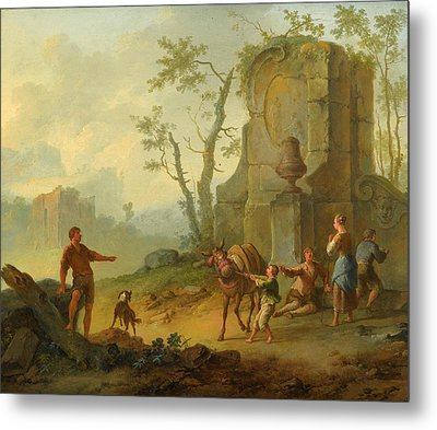 A Classical Landscape With A Family Resting By The Ruins Metal Print