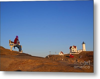 A Cold Winter Day At The Lighthouse Metal Print by David Bishop