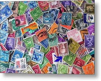 A Collection Of Used Us Postage Stamps Off Paper Metal Print by Jack R Perry