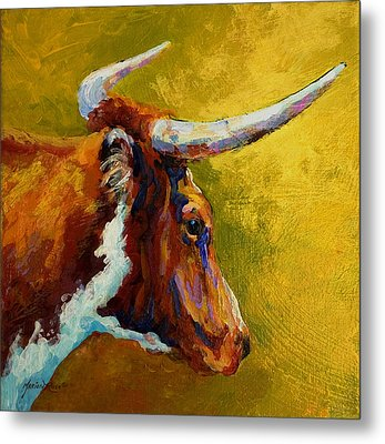 A Couple Of Pointers - Longhorn Steer Metal Print by Marion Rose