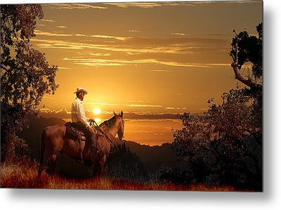 A Cowboy Riding On His Horse Into A Yellow Sunset. Metal Print by Peter Nowell