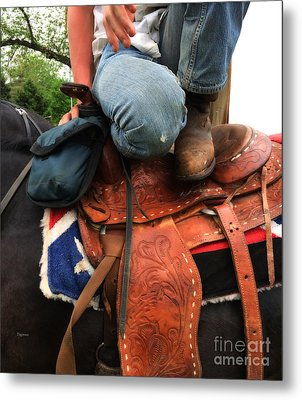 A Cowboy's Saddle  Metal Print by Steven Digman