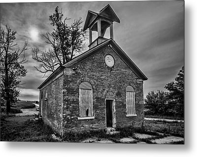 A Crumbling One Room School House Amongst The Cornfields Metal Print