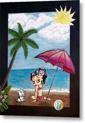 A Day At The Beach Metal Print by Teresa Wing