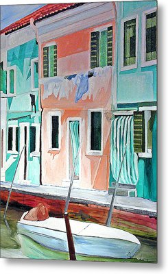 Metal Print featuring the painting A Day In Burrano by Patricia Arroyo
