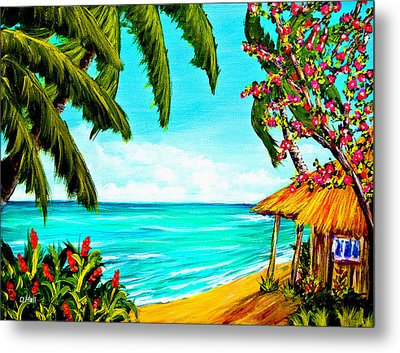A Day In Paradise Hawaii Beach Shack  #360 Metal Print by Donald k Hall