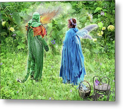 A Dragon Confides In A Fairy Metal Print by Lise Winne