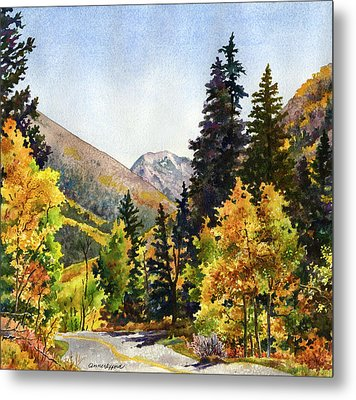 Metal Print featuring the painting A Drive In The Mountains by Anne Gifford