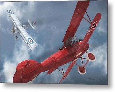 A Duel Begins - The Red Baron Metal Print by David Collins