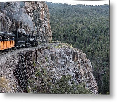 A Durango And Silverton Narrow Gauge Scenic Railroad Train Along A San Juan Mountains Precipice Metal Print by Carol M Highsmith