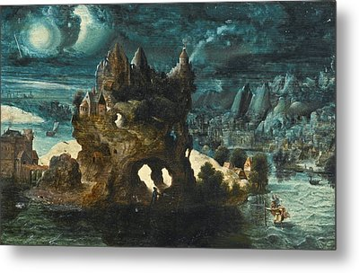 A Fantastical Moonlit Landscape With Saint Christopher Carrying The Christ Child Across A River Metal Print