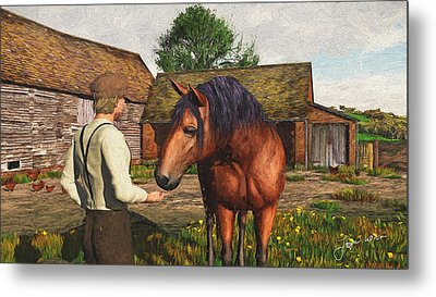Metal Print featuring the digital art A Farmer And His Horse by Jayne Wilson