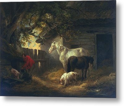 A Farmyard Metal Print by George Morland