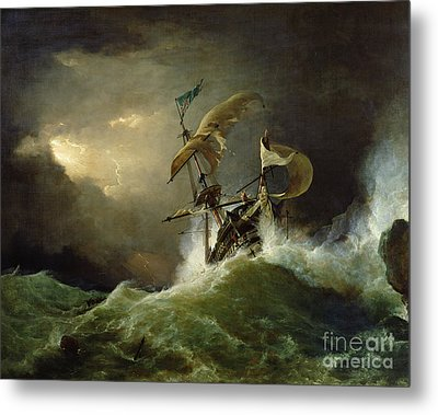 A First Rate Man Of War Driven Onto A Reef Of Rocks, Floundering In A Gale  Metal Print by George Philip Reinagle