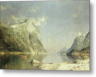 A Fjord Scene Metal Print by Adelsteen Normann