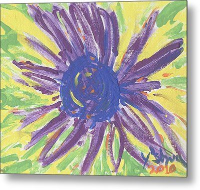 Metal Print featuring the painting A Flower by Yshua The Painter