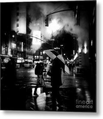A Foggy Night In New York Town - Checkered Umbrella Metal Print by Miriam Danar