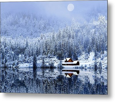 Metal Print featuring the photograph A Foggy Winter Night by Diane Schuster