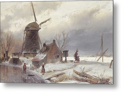 A Frozen River Landscape With A Windmill Metal Print