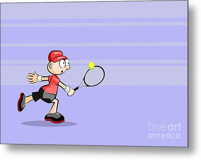 A Funny Tennis Player With A Red T-shirt Runs To Hit The Ball With His Racket Metal Print