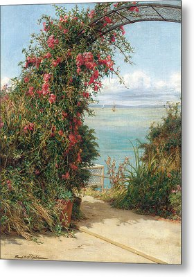 A Garden By The Sea  Metal Print by Frank Topham