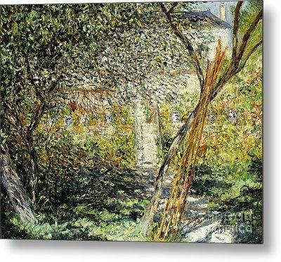 A Garden In Vetheuil Metal Print by Claude Monet