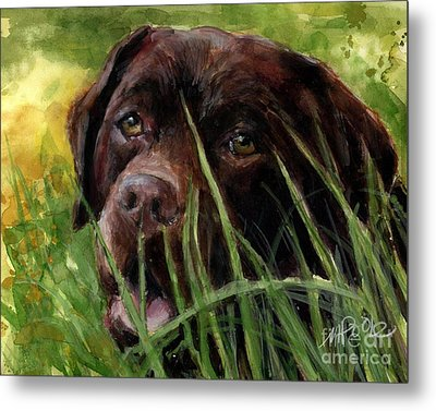 Metal Print featuring the painting A Gardener's Friend by Molly Poole