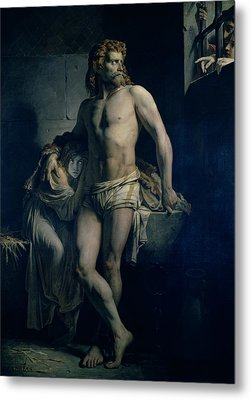 A Gaul And His Daughter Imprisoned In Rome Metal Print by Felix-Joseph Barrias
