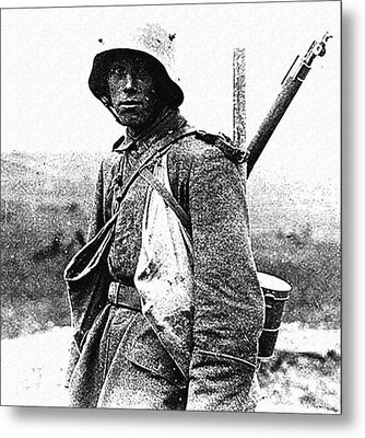 a German soldier at the Battle of the Somme 1916 Metal Print by Celestial Images