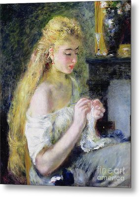 A Girl Crocheting Metal Print by Pierre Auguste Renoir