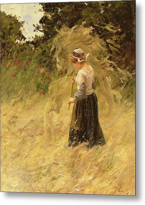 A Girl Harvesting Hay Metal Print by Eugene Leon Labitte