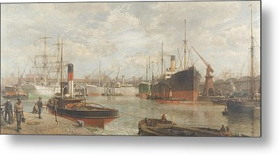 A Glimpse In 1920 Of The Royal Edward Dock, Avonmouth Metal Print by Arthur Wilde Parsons