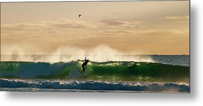 A Golden Surfing Moment Metal Print by Odille Esmonde-Morgan
