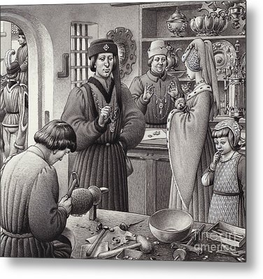 A Goldsmith's Shop In 15th Century Italy Metal Print by Pat Nicolle
