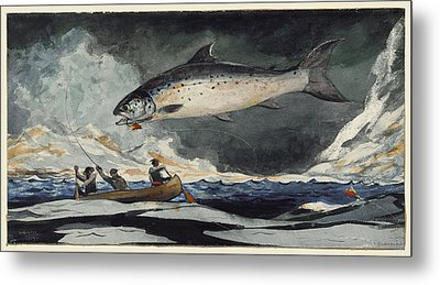 A Good Pool. Saguenay River Metal Print by Winslow Homer