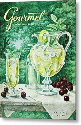 A Gourmet Cover Of Glassware Metal Print