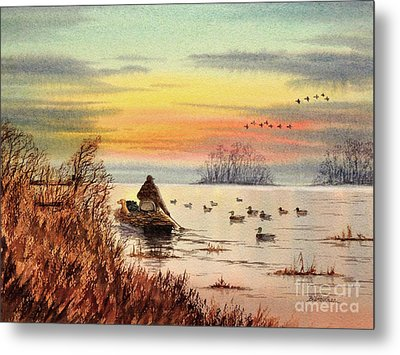 Metal Print featuring the painting A Great Day For Duck Hunting by Bill Holkham