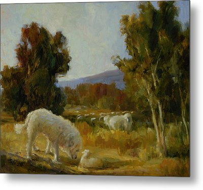 A Great Pyrenees With A Lamb Metal Print by Lilli Pell