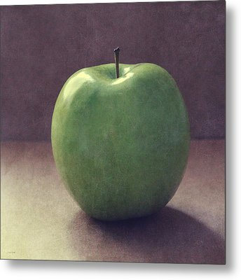 A Green Apple- Art By Linda Woods Metal Print by Linda Woods