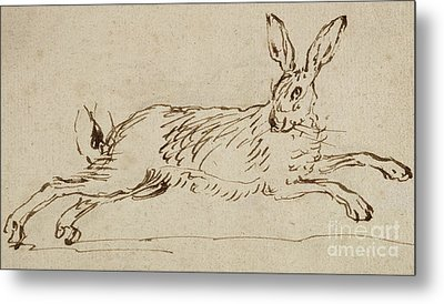 A Hare Running, With Ears Pricked  Metal Print