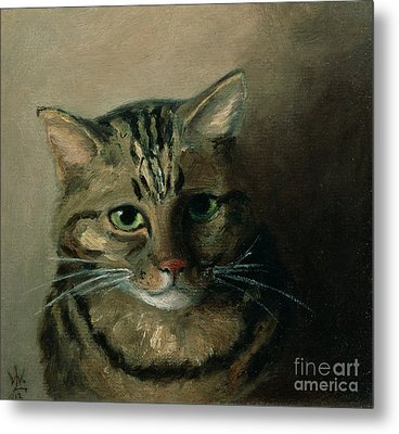 A Head Study Of A Tabby Cat Metal Print by Louis Wain